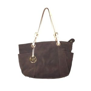 Michael Kors Jet Set Chocolate Brown Suede Tote